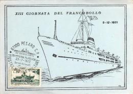 Italia 1972 Pesaro Mostra Filatelica MARINA MILITARE Incrociatore Vittorio Veneto Annullo Cartolina - Militaria