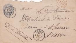 1875 ENTIER SUISSE 30c. LANCY POUR LYON. ENTRÉE SUISSE PAR THONON  / 7215 - Marques D'entrées