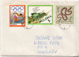 Postal History Cover: Poland Snake, Olympic, Tank Stamps On Cover - Snakes
