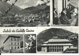 TN6443 - SALUTI DA CASTELLO TESINO - ANTICO COSTUME - SCUOLE - ORATORIO - TRENTO - F.G. - V. 1956 - Trento