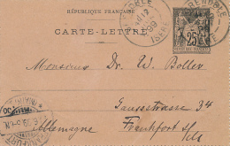 GRENOBLE - 1899 , Carte-Lettre Nach Frankfurt - Ganzsachen