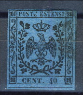 Modena 1852, Senza Punto Dopo Le Cifre, N. 6 C. 40 Azzurro Scuro Usato Firmato Diena Cat. € 175 - Modène
