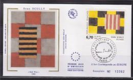 = Série Européenne D'Art Contemporain Red Way De Jean Scully Irlande Enveloppe 1er Jour Paris 29.1.94 N°2858 - 1990-1999