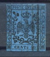 Modena 1852, Senza Punto Dopo Le Cifre, N. 6 C. 40 Azzurro Scuro Usato Firmato Biondi Cat. € 175 - Modena