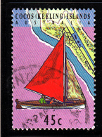 Cocos Islands Used Scott #292a 45c Junkong Sailboat With Red Sail - Cocos (Keeling) Islands