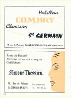 Ancienne Publicite (1963) : Saint-Germain-en-Laye, Habilleur COMBRY, Rue De Pologne, Beauté THESSIEU, Rue De Pologne... - Publicités