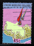 Cocos Islands Used Scott #292d 45c Junkong Sailboast With Red, White Sails - Cocos (Keeling) Islands