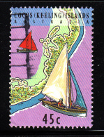 Cocos Islands Used Scott #292e 45c Junkong Sailboast With Red, White & Blue Sails - Cocos (Keeling) Islands