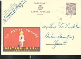 Publibel Obl. N° 876 ( La Petite Poupée  PELTZER Et Fils  Verviers) Obl: Zelzate 09/01/1950 - Stamped Stationery