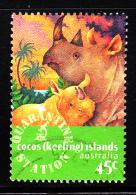Cocos Islands Used Scott #319 45c Black Rhinoceros - Animals Imported Through Cocos - Cocos (Keeling) Islands