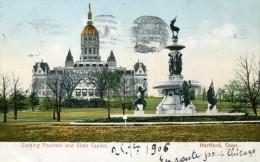 HARTFORD  Corning Fountain  And State Capitol  1906 - Etats-Unis