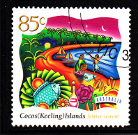 Cocos Islands Used Scott #325 85c Fish, Night Beach Scene - Festive Season - Cocos (Keeling) Islands