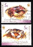 Cocos Islands Used Scott #333a, #333b Purple Crab, Little Nipper - WWF - Cocos (Keeling) Islands