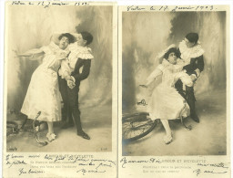 Theme Fantaisie Spectacle Pierrots Amour Et Bicyclette 2 Cartes - Other