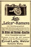 Original-Werbung/ Anzeige 1926 - ERNST LEITZ / LEICA KAMERA - Ca. 65 X 100 Mm - Publicités
