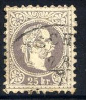 AUSTRIA 1867 Franz Joseph 25 Kr. Coarse Print, Used.  Michel 40 - 1850-1918 Empire