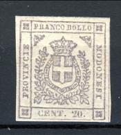 Modena 1859 Gov. Provvisorio N. 16 C. 20 Lilla Grigio Chiaro. MNH, Grandi Margini, Fresco, Firmato Brun Cat. € 750 - Modena