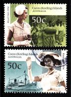 Cocos Islands Used Scott #338a, #338b 50th Anniversary Royal Visit - Cocos (Keeling) Islands