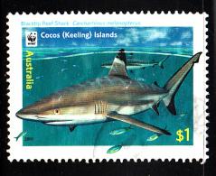 Cocos Islands Used Scott #342 $1 Blacktip Reef Shark - WWF - Cocos (Keeling) Islands
