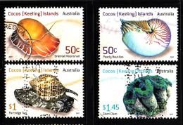 Cocos Islands Used Scott #345a, #345b, #346-#347 Set Of 4 Mollusks - Cocos (Keeling) Islands