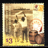 Cocos Islands Used 2013 Issue $3 People Waving To Ship, Barrel Mail - Cocos (Keeling) Islands