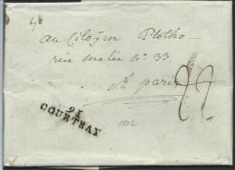 "L. Pesante 1802 Marque 9I/COURTRAY + ""22"" Pour Paris - 1794-1814 (Période Française)"