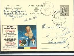 Publibel Obl. N° 1378 ( Tarif National; électricité, Fée, Prise) Obl: La Hestre 31/01/1956 + Leuven 01/02/1956 - Stamped Stationery