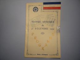 Programme 1939 Foyer Militaire 15 ème Section De C.O.M.A. Concert De Bienfaisance - Programmes
