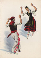 Aw - CPSM Illustrée Merlo - Types Basques - Le Fandango - Bailes