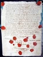 TESTAMENT DE 1720  COUSU ET SCELLE DE 13 CACHETS DE CIRE RARE ET CURIEUX  OUVERT DOCUMENT AUTHENTIQUE - Documents Historiques