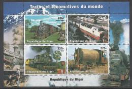 NIGER, 1998, MNH, TRAINS, STEAM TRAINS, MOUNTAINS, SHEETLET, YVERT 1223-1226 - Trains