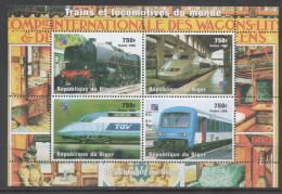NIGER, 1998, MNH, TRAINS, TGV, SHEETLET, YVERT 1239-1242 - Trains