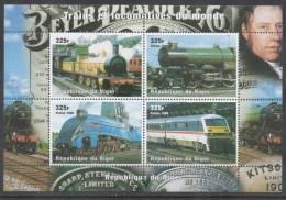 NIGER, 1998, MNH, TRAINS, STEAM TRAINS, SHEETLET, YVERT 1227-1230 - Trains