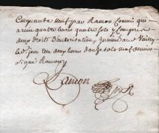 2 JUILLET 1759, GENERALITE DE BOURGES, DEUX SOLS, 2 FEUILLES, 2 SCANS - Cachets Généralité