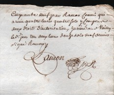2 JUILLET 1759, GENERALITE DE BOURGES, DEUX SOLS, 2 FEUILLES, 2 SCANS - Seals Of Generality