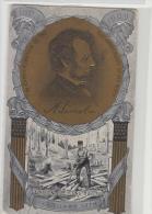 DE963-U.S.A. 1909 AK ABRAHAM LINCOLN-Erste Hundertjahrfeier Geburt-MEDAILLE PORTRÄT Geprägt +Szene Aufspaltung Schienen - Historical Famous People