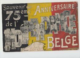 DE971-1905 BELGIQUE CP Souvenir Du 75eme ANNIVERSAIRE INDEPENDANCE BELGE+Photo Hommes Célèbres-voyagè - Belgien