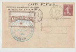DE974-1931 CP CHARLEVILLE Exposition PHILATELIQUE Regional-Jour Cachet C.15+Cendrillon Exposition - Picardie