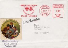 LETTRE EMA 1975 PARTENERSCHAFT STADT LINNICH  + VIGNETTE GÜTERMANN'S NÄHSEIDE / 6721 - Germany