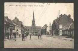 CROIX - Place De La République Et L'Eglise - Tram - Publicité KUB - Dekeyser Manufacture Vêtements Et Tissus - France