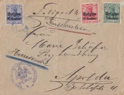 DR Landespost In Belgien R-Brief Heeressache Mif Minr.2,3,4 Ansehen !!!!!!!!!!!!! - Occupation 1914-18