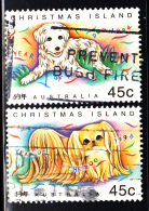 Christmas Island Used Scott #358-#359 Set Of 2 Dogs - Lunar New Year Year Of The Dog - Christmas Island