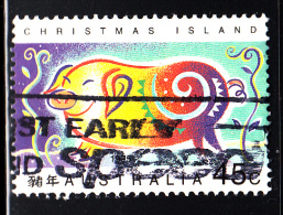 Christmas Island Used Scott #367 45c Stylized Boar - Lunar New Year Year Of The Boar - Christmas Island
