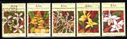 Christmas Island Used Scott #363a-#363e Set Of 5 45c Orchids - Christmas Island