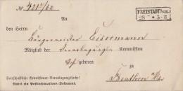 Preussen Brief Gel. Von R2 Freystadt I.Schl.28.2. Nach Beuthen - Preussen