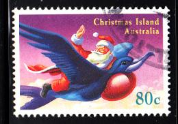 Christmas Island Used Scott #372 80c Santa Waving From Back Of Frigatebird - Christmas - Christmas Island