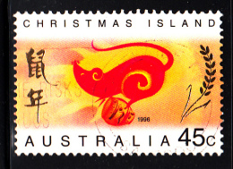 Christmas Island Used Scott #377 45c Rat Facing Left - Lunar New Year Year Of The Rat - Christmas Island