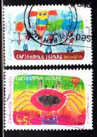 Christmas Island Used Scott #418-#419 2 45c Children's Drawings - Festivals - Christmas Island