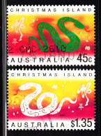 Christmas Island Used Scott #430-#431 Set Of 2 Lunar New Year Year Of The Snake - Christmas Island