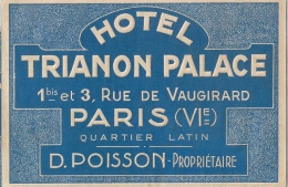 HOTEL TRIANON PARIS Propriétaire Poisson Rue De Vaugirard - Etiquettes D'hotels